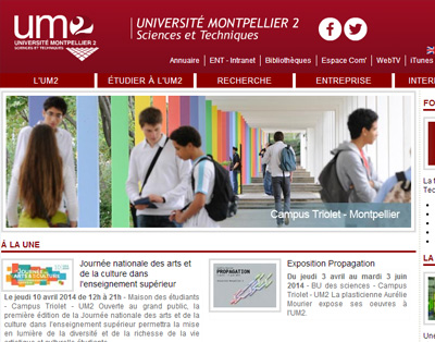 Portal of the university Montpellier 2